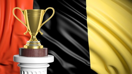 Golden trophy with Belgian flag in background