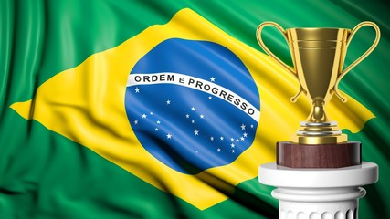 Golden trophy with Brazilian flag in background