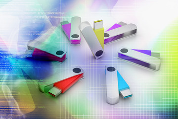3D colourful models USB Flash Drive