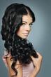 Fashion model with beautiful hair posing, portrait