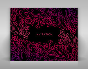 Black invitation with floral decoration.