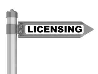 Licensing. Road sign