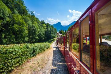 Steam locomotive of a vintage cogwheel railway going to Schafber