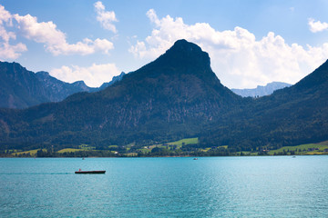 Wolfgang See lake with Sparber and Bleckwand peaks