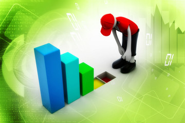 businessman analysing the business graph