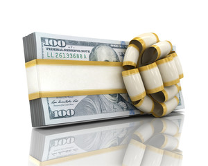Gift of money. Stack of dollar bills with ribbon