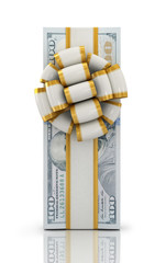 pile of 100 dollar bills on a white background