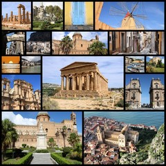 Sicily landmarks - image collage