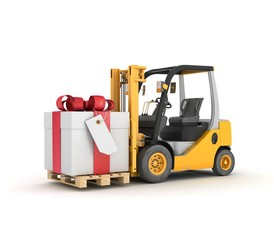forklift with gift box in a pallet. Isolated