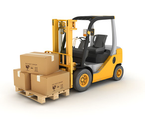 forklift with boxes in a pallet. Isolated