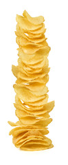 chips in plate on white bacground