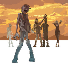 scary zombie on orange sky background