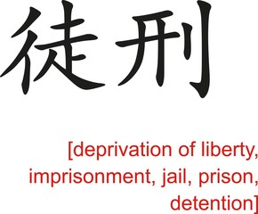 Chinese Sign for deprivation of liberty, jail, prison
