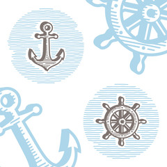 Vintage marine icon set: engraving anchor and wheel.