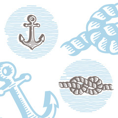 Vintage marine icon set: engraving anchor and knot.