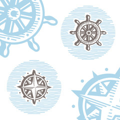 Vintage marine icon set: engraving wheel and wind rose.