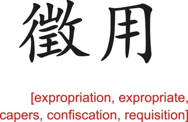 Chinese Sign for expropriation, capers,confiscation,requisition