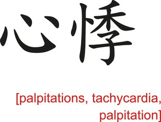 Chinese Sign for palpitations, tachycardia, palpitation