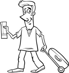 man with flight ticket coloring page