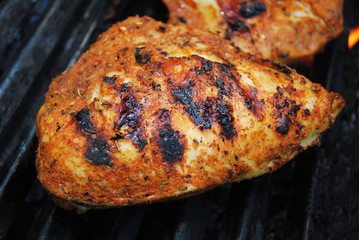 Close-Up of a Nutritious Chicken Breast Being Grilled