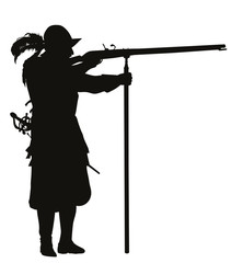 Conquistador with musket aiming. Vector silhouette. EPS 8