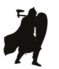 Medieval warrior with axe vector silhouette