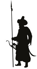 Medieval Turkish warrior with spear vector silhouette