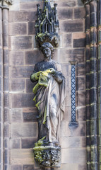 Saint Jude statue on the west front of Lichfield Cathedral