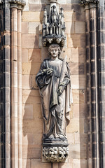 Saint Stephen statue on the west front of Lichfield Cathedral