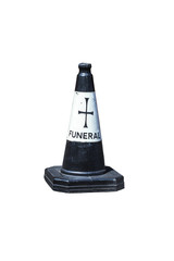 Traffic cone for funeral cars on white background