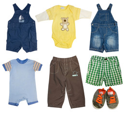 Collage set of male kid clothes.