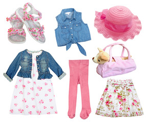 Set of female kid clothes isolated.Collage girl wear.