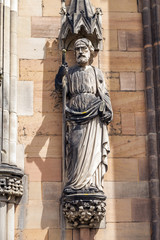 Saint James statue on  Lichfield Cathedral.
