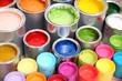 canvas print picture - Bunte Farbdosen auf Parkettboden