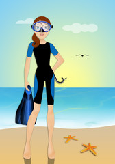 Woman with diving equipment