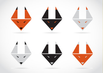 Vector fox face icons set