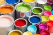 Leinwandbild Motiv Bunte Farbdosen