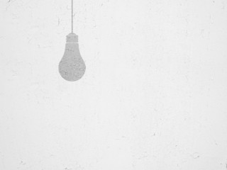 bulb silhouette in white cracked paint wall