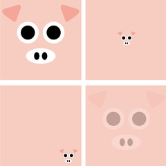 Vector set of cartoon piggy background