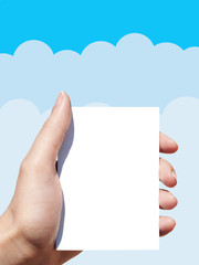 blank list of paper in woman hand and vector clouds