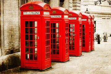 antik texturiertes Bild roter Telefonzellen in London