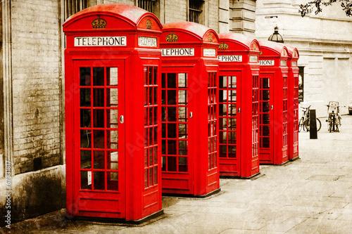Papiers peints Londres antik texturiertes Bild roter Telefonzellen in London