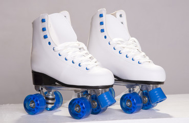 A pair of ladies quad skates
