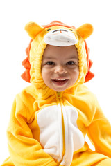 Black child boy,dressed in lion carnival suit, isolated on white