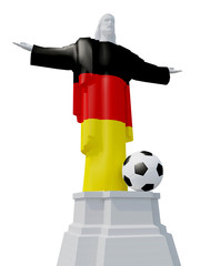 Christ the Redeemer colored with German flag and soccer bal