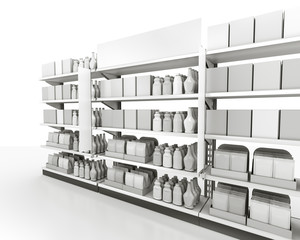 set of shelves with goods, flags and banner isolated on white