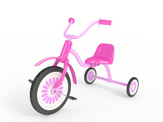Pink tricycle isolated 3d render