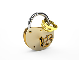 The lock and wedding rings