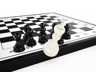 White chess king falls from a chessboard