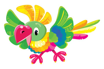 Children vector illustration of funny parrot